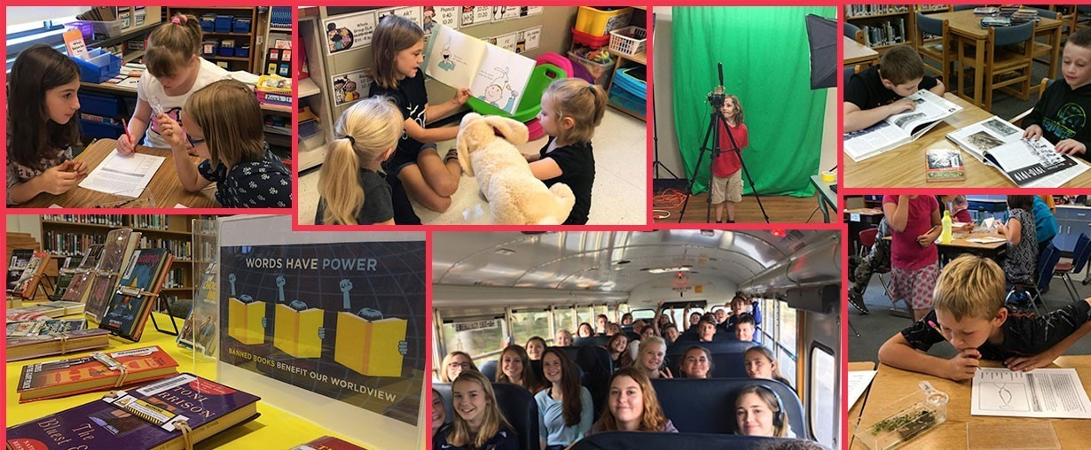 Collage of students, including reading together, riding on bus, playing with Green Screen