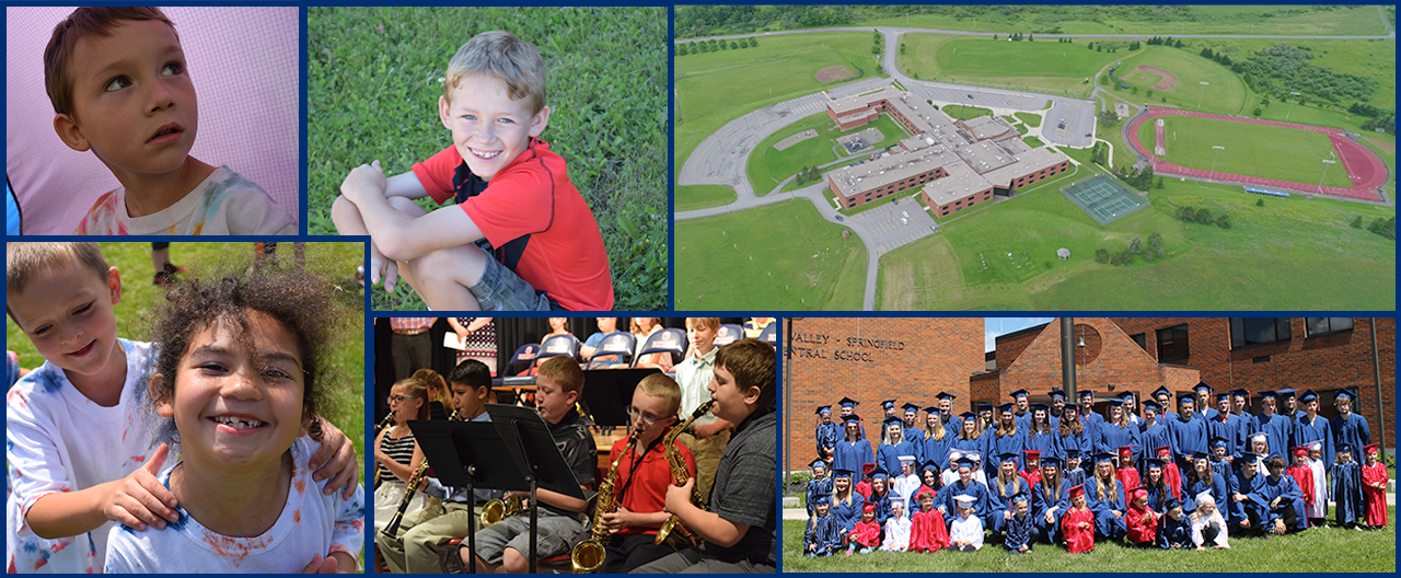 Collage of students, including building aerial shot and band