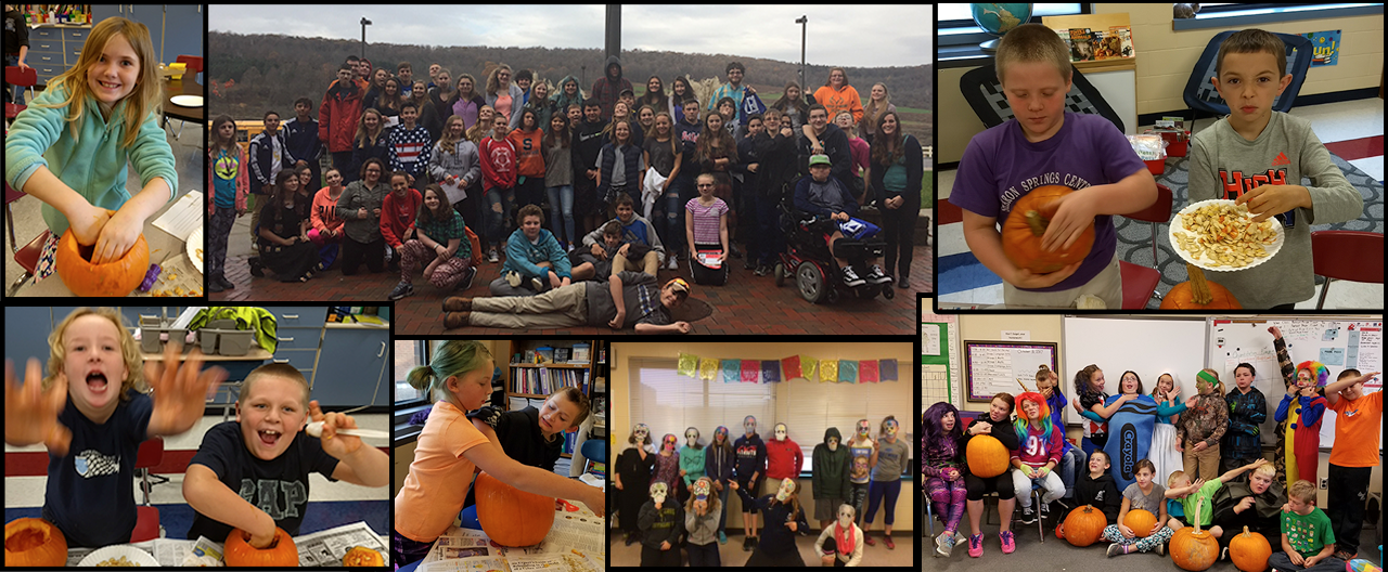 Collage of students including pumpkin carving and class pictures