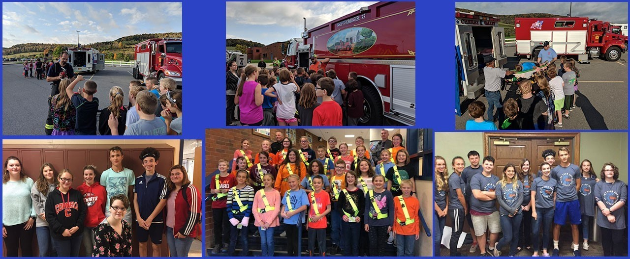 Collage of various images including students during Fire Safety day in front of fire truck, safety patrol inductees, and student at CFES field trips