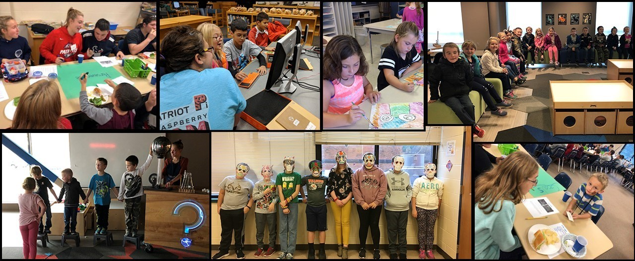 Collage of various images including students with masks for Day of the Dead, students eating at CFES event, 3rd graders at Science Discovery center and students working at the Patriot Pi Raspberry Jam