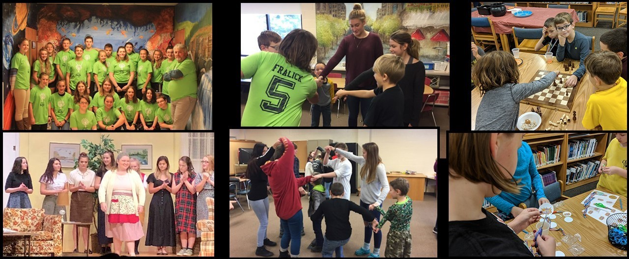 Collage of various images of students including during Box Top party, fall play and CFES events