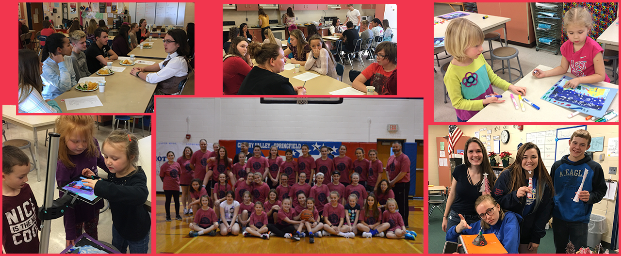 Collage of images from school including weekend basketball tournament, student during a career cafe get together and kindergarten students in art class