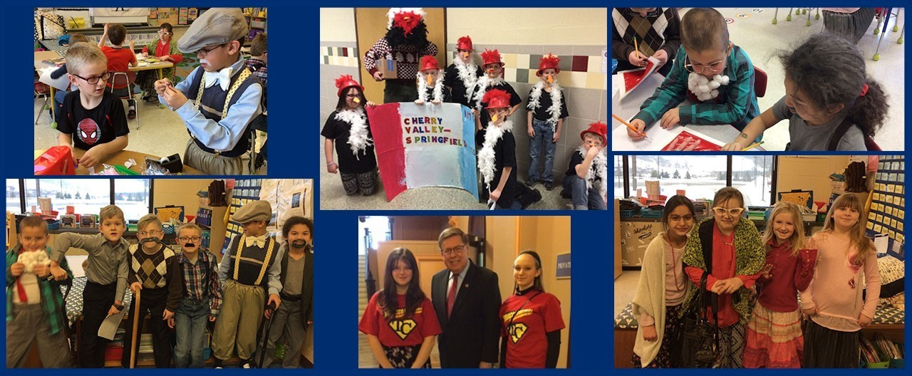 Collage of images including students on 100th day of school, advocating for tobacco reform, and at an Odyssey of the Mind competition dressed like chickens.