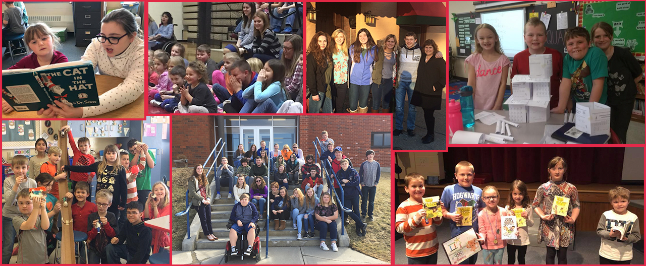 Collage of students during different school events, most all posing for camera - including OAOC field trip, paper structures, el Mariachi spanish club trip and more