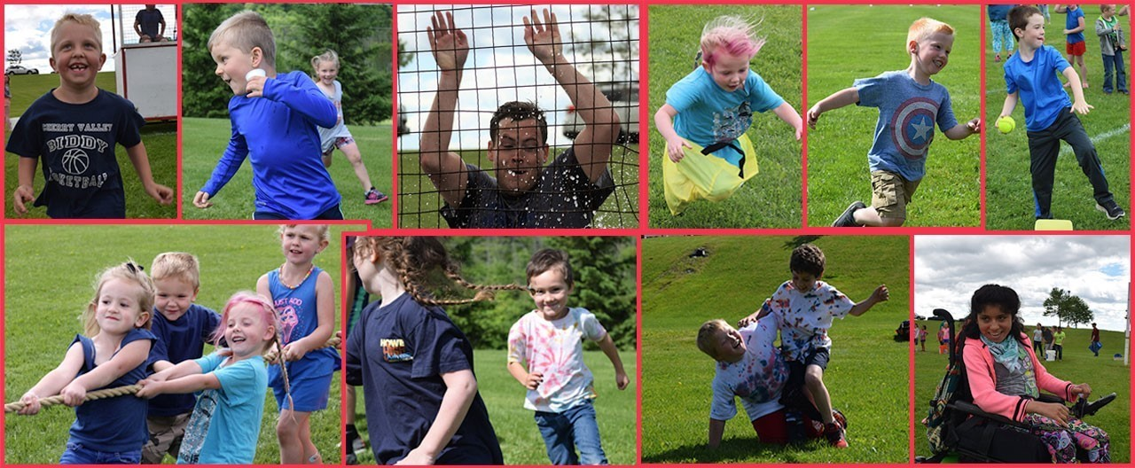 Collage of images of students at the yearly field day, including students running, throwing and falling