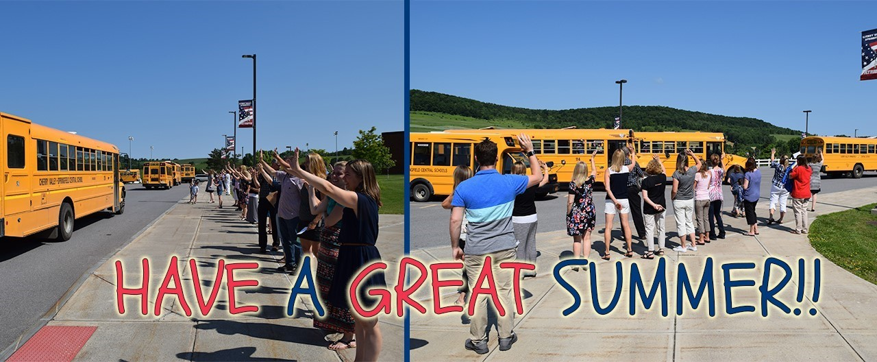 Two images of teachers waving to school buses
