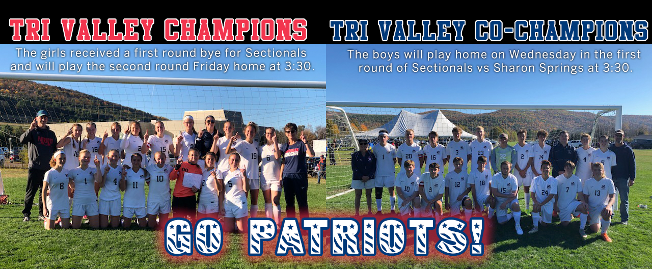 Tri-Valley Champions image of Girls and Boys team with details on next games and Go Patriots on bottom