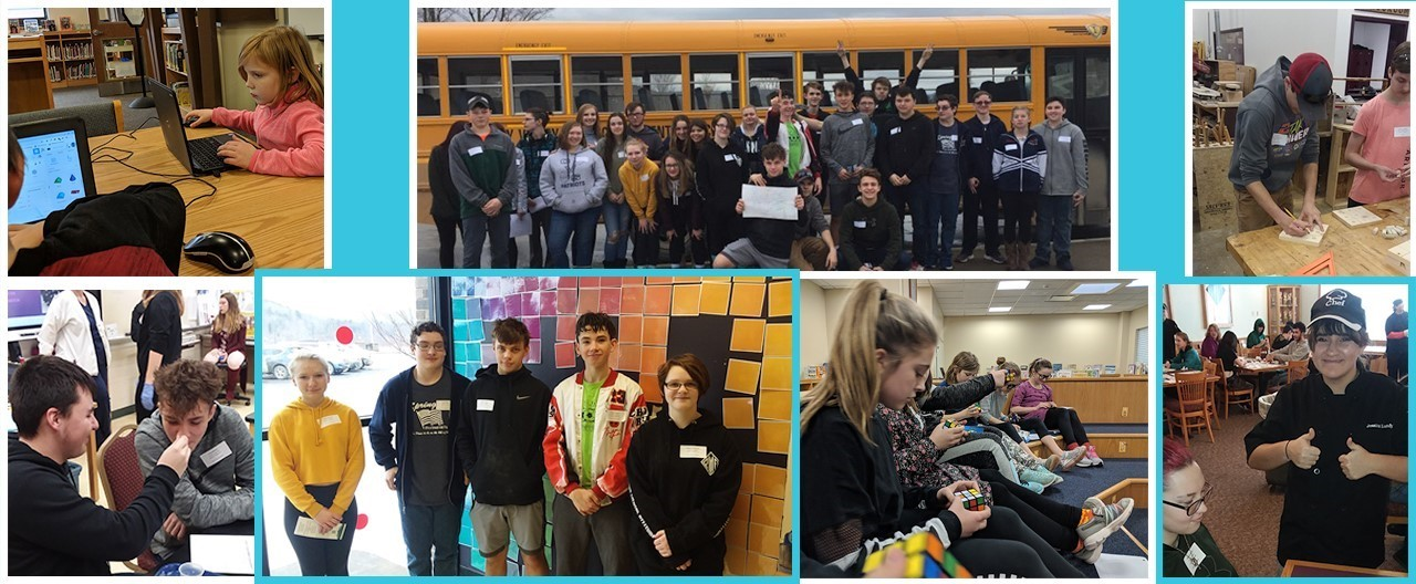 Collage of student images includes sophomores at OAOC BOCES field trip, students solving rubik's cubes and students at PBIS Party designing 3D images