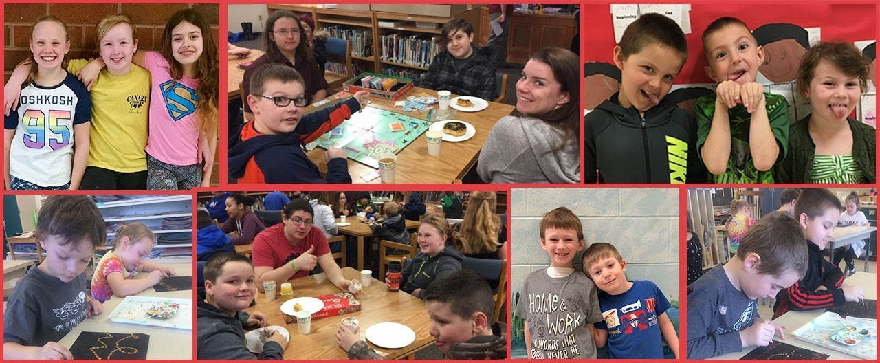 Collage of student images including CFES mentoring breakfast and PBIS Photo Pass pictures which is students with their friends