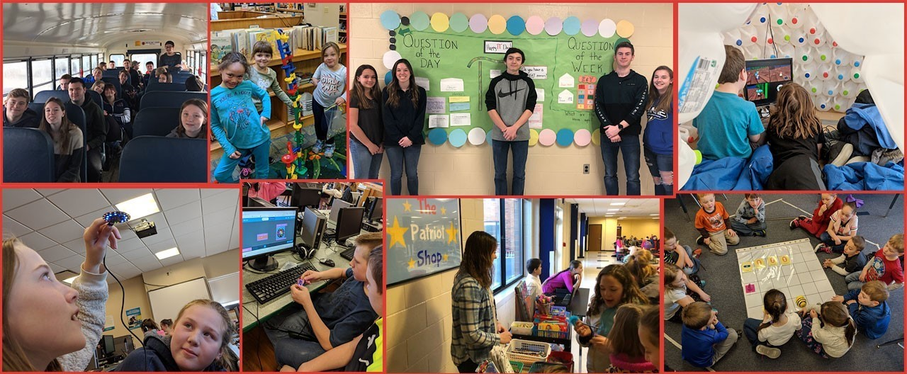 Collage of student images at various events including Pi day, on school bus for field trip, during PBIS Makerspace time, working with BeeBots and more