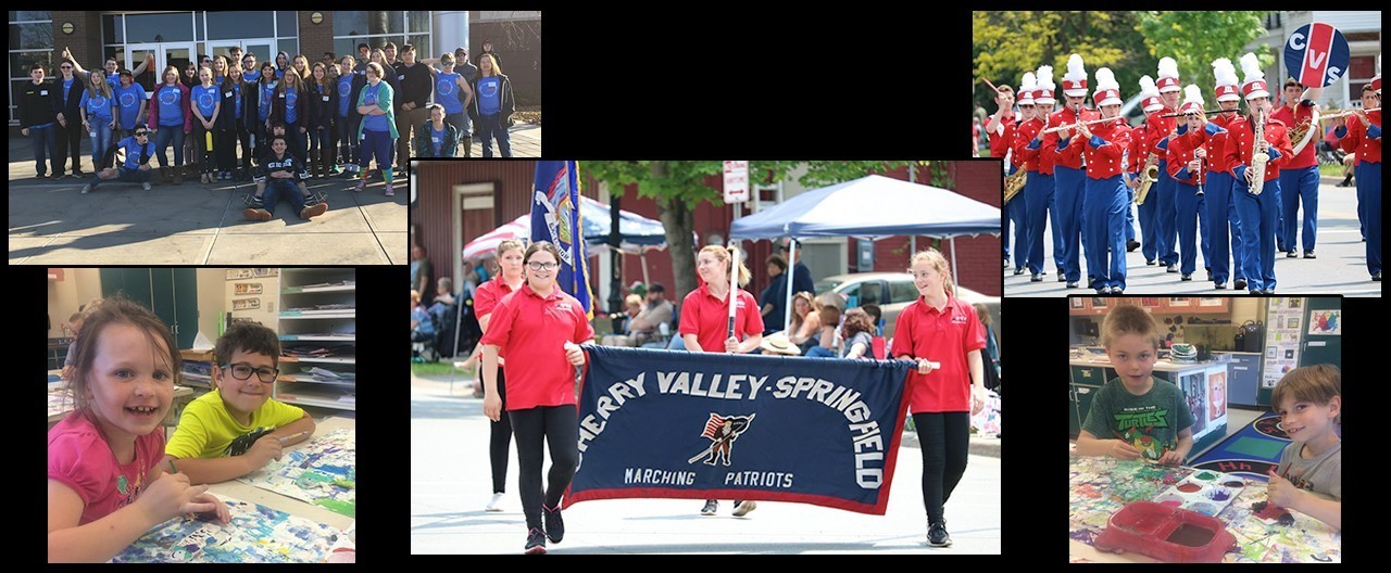 Collage of students at various events in an out of school included Sherburne marching parade, art class and a field trip to Colgate University