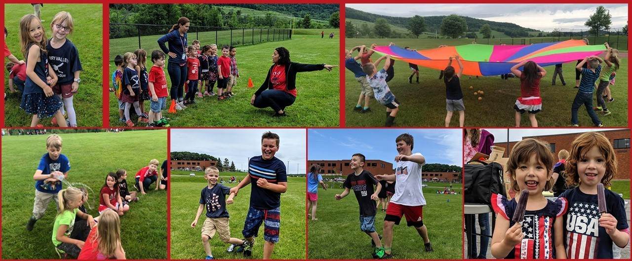 Collage of students at the 2019 Patriot Dash doing various physical activities.