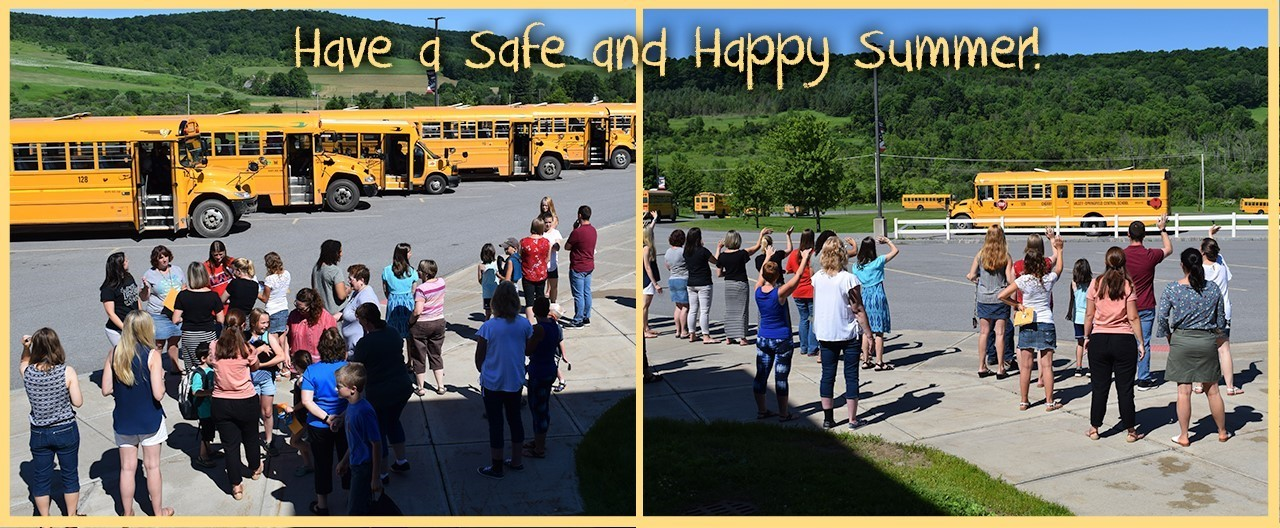 Have a safe and happy summer text, over teachers waving to buses departing on last day of school 2019.