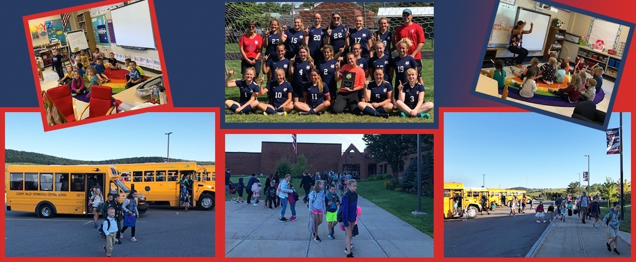 Collage of student images including students getting off the bus on day one, PreK students in class and Varsity Girls soccer.