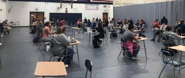 Students eating Lunch in the Gym