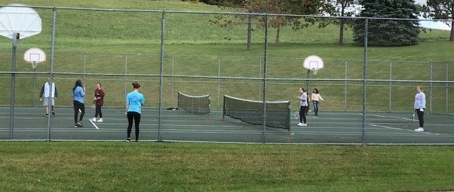 Gym class on the Tennis Courts
