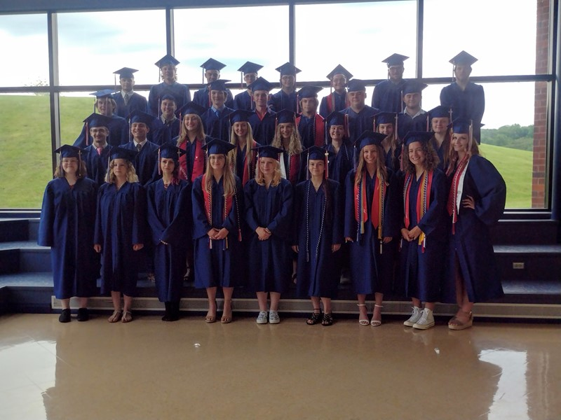 Seniors in Caps and Gowns